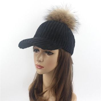 Velvet and fox fur ball winter hat for women pu leather pompom luxury baseball cap for girl brand warmer female snapback hats
