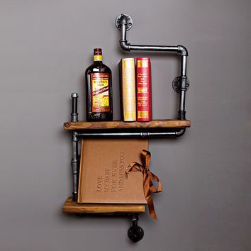 Decorative Iron Wood Panel Display Shelf - Double Shelves