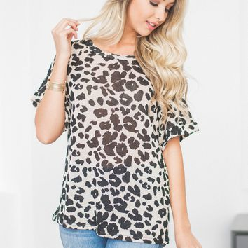 Isabel Cuff Sleeve Leopard Top