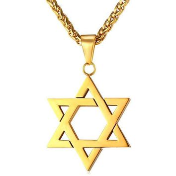 auguau Jewish Jewelry Magen Star of David Pendant Necklace