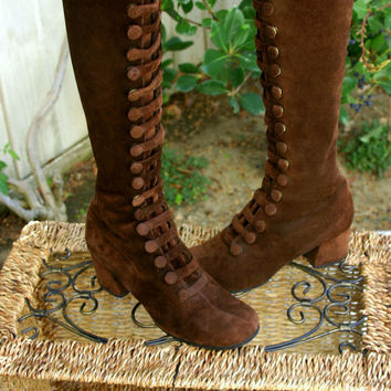 Vintage 60s Brown Victorian Suede Snap Up Bohemian Hippie Goddess Boots Size 7