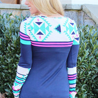 Soul Shine Aztec Top Teal