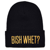 Bish Whet Beanie- Black with Gold Embroidery