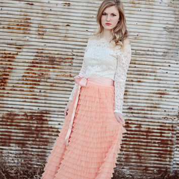 Long Coral Blush Tiered tulle skirt