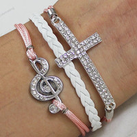 popular diamond Bracelets,bling cross&music bracelets, pinkWax Cords and white Braided rope Bracelets, gifts for her,birthday gifts N0384