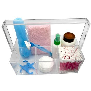 Evelots Cosmetic Organizer-Durable Clear Acrylic-4 Compartments-Carry Handle
