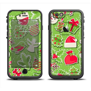 The Red and Green Christmas Icons Apple iPhone 6 LifeProof Fre Case Skin Set