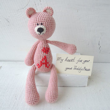 Crochet Art Doll Dusty Pink Teddy Bear, Amigurumi, Cute stuffed animal, Soft toys for baby, Holiday gift kids, Valentine's Day gift idea