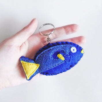 Fish plush keychain, blue and yellow stuffed fish figurine, cute summer accessory, sea animal keyring