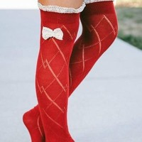 Peek a Bow Boot Socks in Red