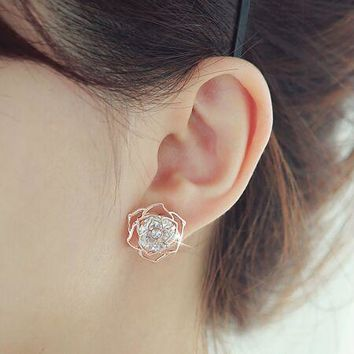 Accessories cutout rose big zircon stud earring elegant 925 sterling silver needles earring earrings