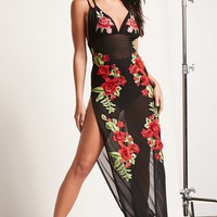 Embroidered Strappy Mesh Maxi Dress