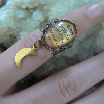 Ouija charm rings  Charm midi rings knuckle rings Ouija ring Ouija board ring moon ring spirit Goth pagen witch magic boho hipster