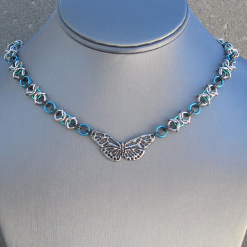 Mothers Day Necklace, Chain Choker, Chainmaille Necklace, Butterfly Choker Necklace, Metal Choker, Chain Mail Jewelry Chainmail Chain Maille