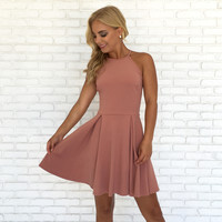 Avalon Babydoll & Lace Dress In Mauve