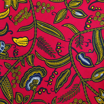 Red Wax print African fabric per YARD African fashion Nigerian style Ghanaian fashion  African print fabric floral pattern fabric