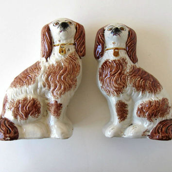 "Pair of antique Staffordshire ceramic dogs, brown and white, 8"" tall, English Country decor, glass collectible, gift idea"