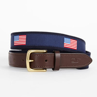 Men's Club Belts: New American Flags Canvas Belt - Vineyard Vines