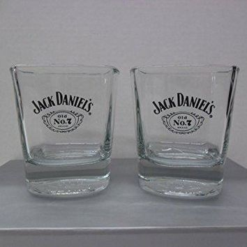 Set of 2 Jack Daniels Tennessee Whiskey Old No 7 Brand Black Label Square Lowball Rocks Glasses