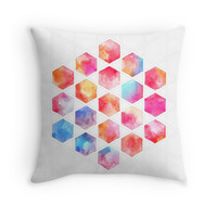 Radiant Hexagons - geometric watercolor painting
