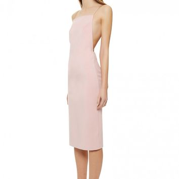 AQ/AQ Cartney Backless Midi Dress with Shoestring Straps · Pale Pink ·