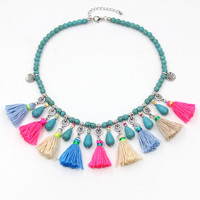 Statement Necklace Bohemian Handmade Strand Choker Colorful Tassel