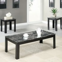 Black / Grey Marble-Look Top 3Pcs Table Set