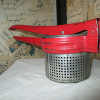 Vintage Potato Ricer--Rustic Kitchen Implement--Chippy Red Metal Handle--Retro Masher--Kitchenalia--Vegetable Fruit Press Juicer