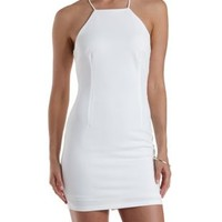 Off White Strappy-Back Bodycon Dress