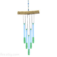 Light Blue and Green Wind Chime, Blue Glass Windchime, Blue Glass Chimes, Green and Blue Suncatcher