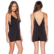 Black Strappy V Front and Back Romper