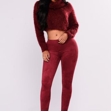Eveline Suede Leggings - Burgundy