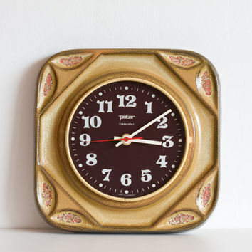Kitchen Clock, Ceramic Wall Clock, Vintage Electronic Retro Clock, Rust Brown Caramel Gold Pottery Clock, Hostess Gift, Gift for her ohtteam