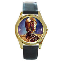 "Star Wars ""C3PO""on a Gold Round Watch with Leather Bands ..Sci-Fi Lovers *"