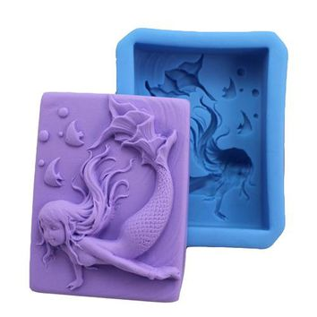 Handmade Soap Mermaid Silicone Mold Candy Mould Cake Stencil Sugar Craft Soap Silicone Tools 9.6x6.7x2.8cm free shipping E128