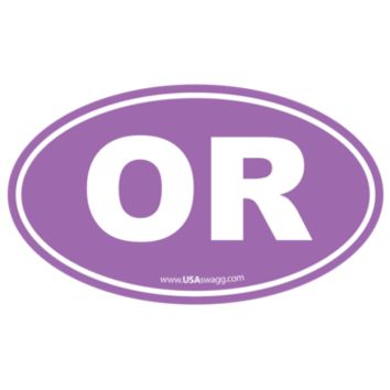 Oregon OR Euro Oval Sticker PURPLE