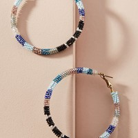 Beaded Stripes Hoop Earrings