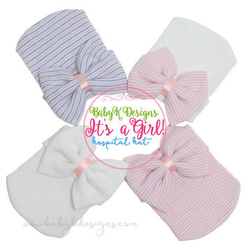 Baby Girl Hat | Newborn Hospital Hat |Newborn Baby Girl Beenie | Newborn Hat w. Bow | Baby Girl Coming Home Announcement Hat | READY to SHIP