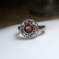 Clearance - Size 6 - Tourmaline and Diamond Sterling Engagement Ring - Size 6