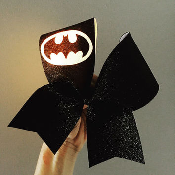 Batman full glitter LIGHT UP Cheer bow yellow light costume batgirl bow