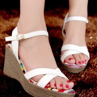 WowDresses — Graceful Leather Wedge Sandals with Crystal Rose