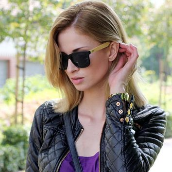 Eco Indie Bamboo Wood Two Tone Horned Rim Sunglasses