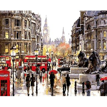 DIY Oil Painting By Numbers Frameless Paint On Canvas Wall Pictures For Living Room Wall Art Home Decor Rain Shopping Street 605