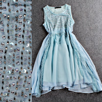 Light Blue Sleeveless Beaded Lace Mesh Grid Loose Mini Dress
