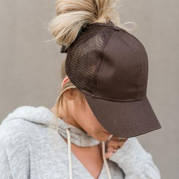Messy Bun Baseball Cap - Brown