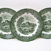 Vintage Grindley China Dessert Pie Plates Homeland Green Salad Plate Staffordshire Pottery Set of 4 WH Grindley