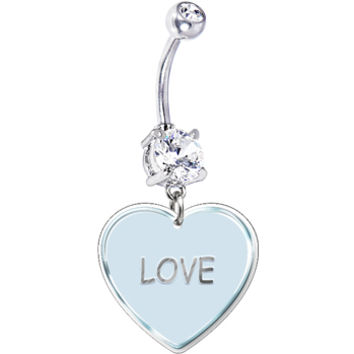 White Love Conversation Heart Belly Ring | Body Candy Body Jewelry