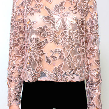 Own The Night Sequin Top (Rose Gold)
