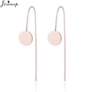 Jisensp Fashion Rose Gold Color Geometric Hanging Earrings for Women Ear Climbers Jewelry Gift Simple Round Long Stud Earrings