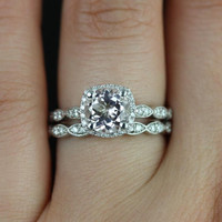 Christie Sweetheart Size 14kt White Gold Morganite and Diamonds Halo WITH Milgrain Wedding Set (Other metals and stone options available)